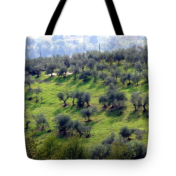 Olive Trees And Shadows Tote Bag by Debi Demetrion