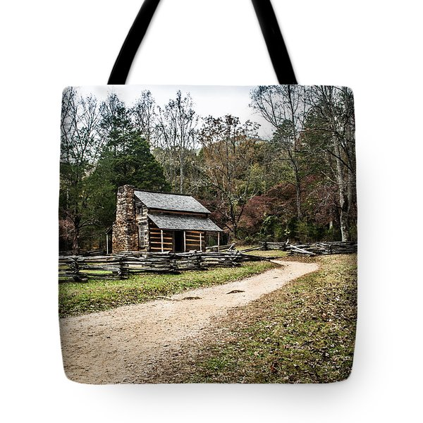 Tote Bag featuring the photograph Oliver's Log Cabin by Debbie Green
