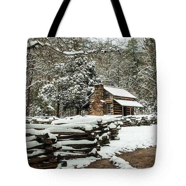 Tote Bag featuring the photograph Oliver's Log Cabin Nestled In Snow by Debbie Green