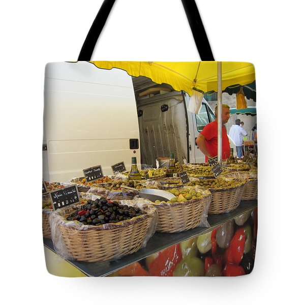Olives For Sale Tote Bag by Pema Hou