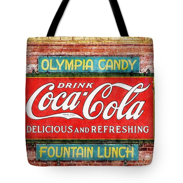 Tote Bag featuring the painting Olympia Candy by Sandy MacGowan