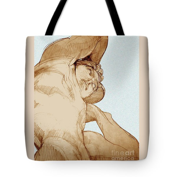 Tote Bag featuring the drawing Olympic Athletics Discus Throw by Greta Corens