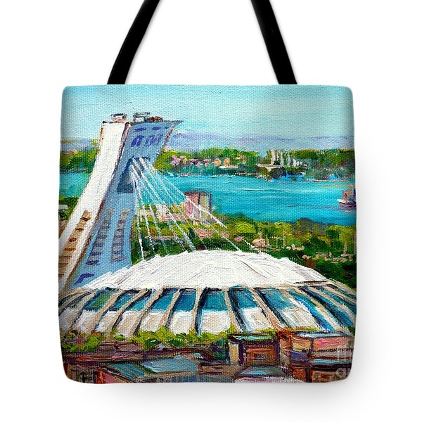 Olympic Stadium Montreal Painting Velodrome Biodome Heritage Art By City Scene Artist Carole Spandau Tote Bag by Carole Spandau