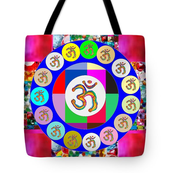 Om Mantra Dedication  Devotion Symbol Assembly By Artist N Reiki Healing Master Navinjoshi Tote Bag