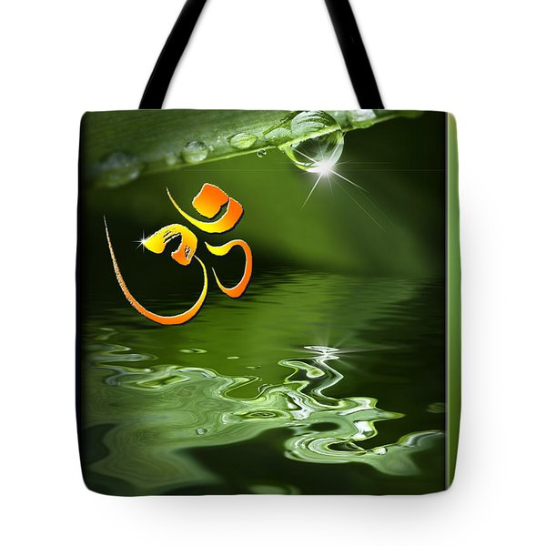 Tote Bag featuring the mixed media Om On Green With Dew Drop by Peter v Quenter