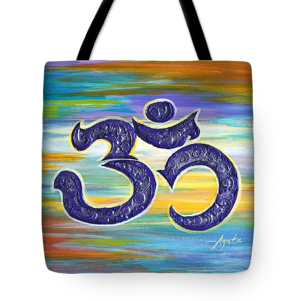Tote Bag featuring the painting Om Purple by Agata Lindquist