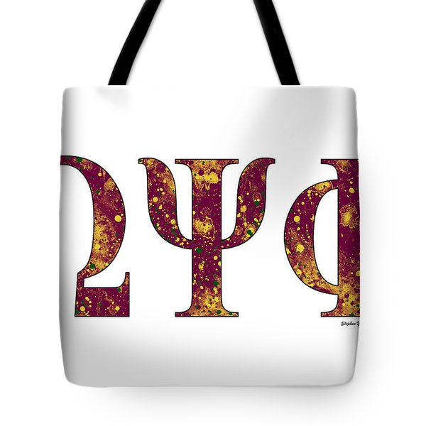 Tote Bag featuring the digital art Omega Psi Phi - White by Stephen Younts