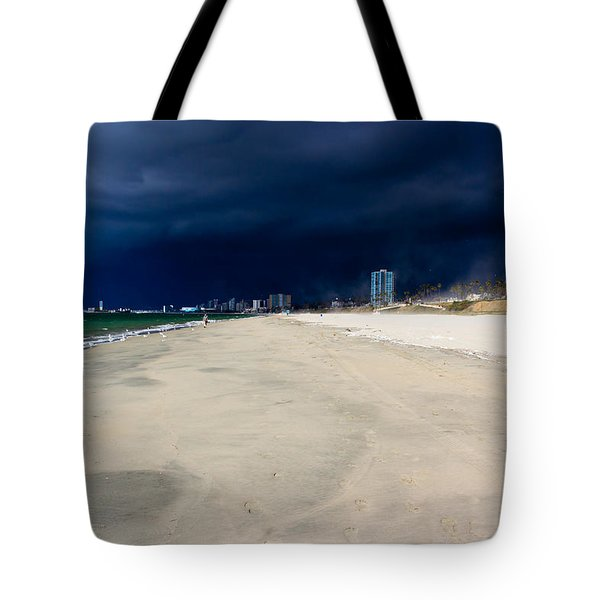 Ominous Sky Over Long Beach Tote Bag by Heidi Smith