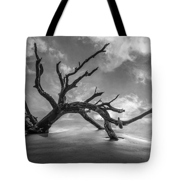 On A Misty Morning In Black And White Tote Bag by Debra and Dave Vanderlaan
