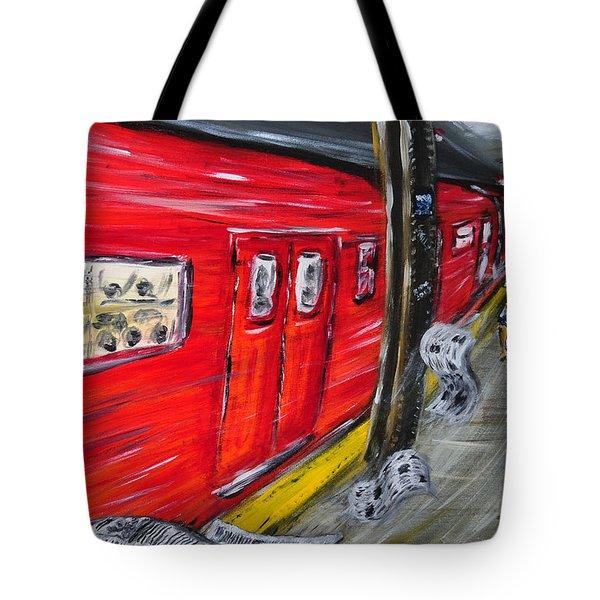 On A Subway Platform Tote Bag by Ka-Son Reeves