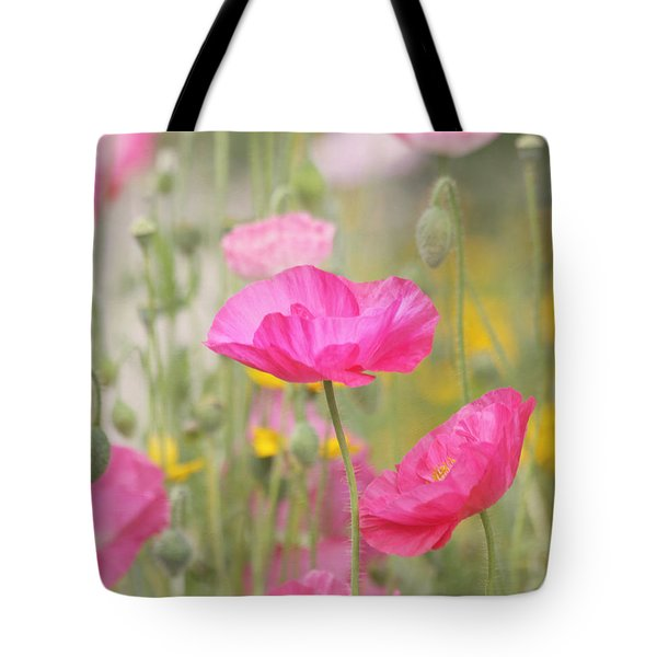 On A Summer Day - Pink Poppy Tote Bag by Kim Hojnacki