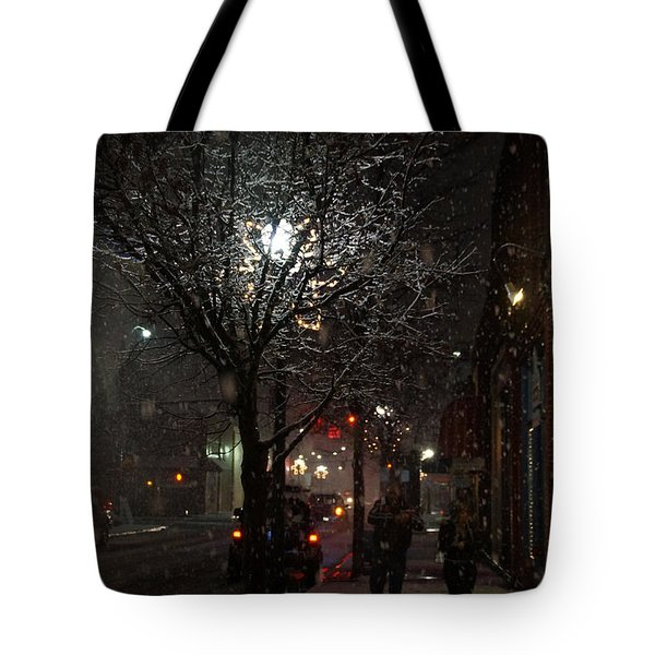 On A Walk In The Snow - Grants Pass Tote Bag by Mick Anderson