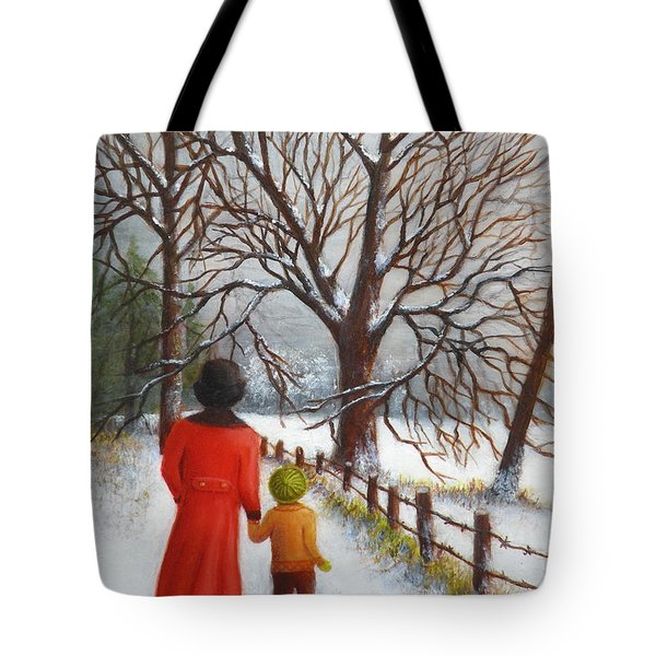 On A Wintry Walk With Gran Tote Bag