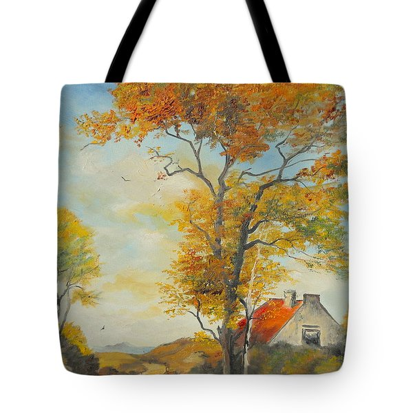 Tote Bag featuring the painting On Country Road  by Sorin Apostolescu