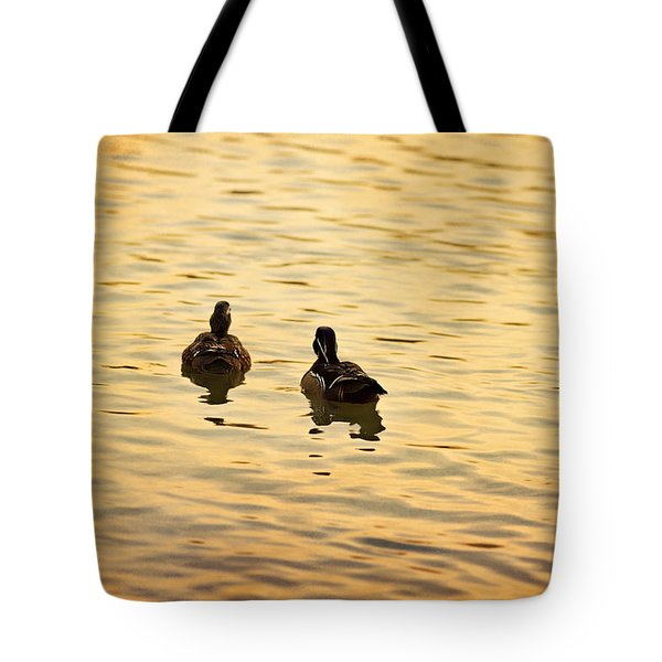 On Golden Pond Ducks Tote Bag by Angela A Stanton