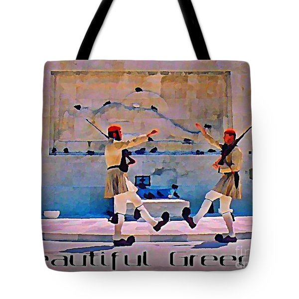 On Guard At The Athens Capitol Tote Bag by John Malone