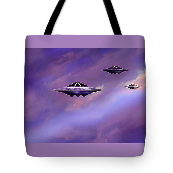 Tote Bag featuring the painting Sky  Patrol by Hartmut Jager