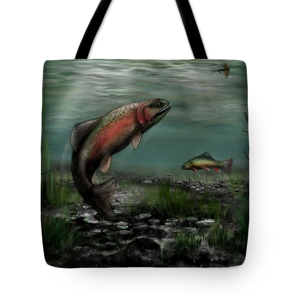 On The Attack - Rainbow Trout After A Fly Tote Bag