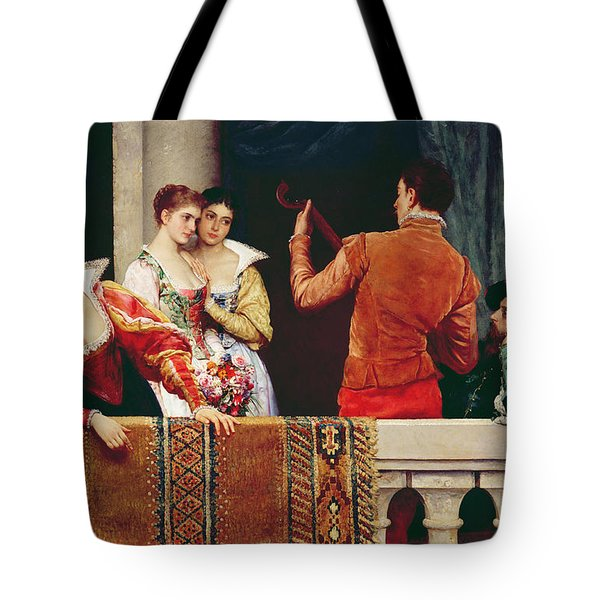 On The Balcony Tote Bag by Eugen von Blaas