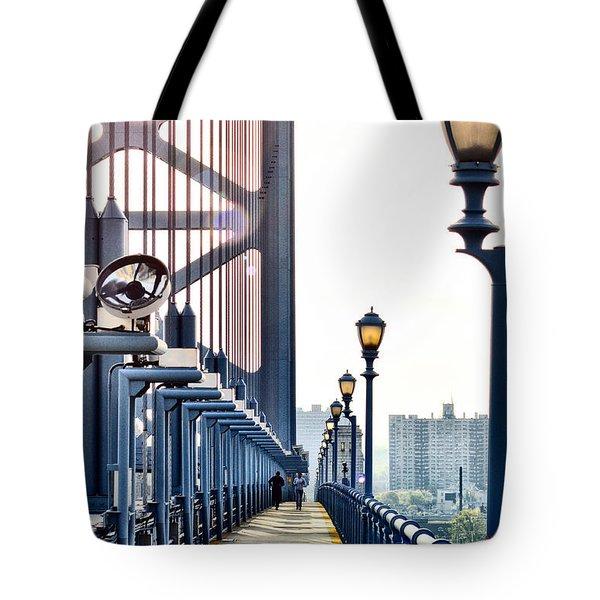 On The Ben Franklin Bridge Tote Bag by Bill Cannon