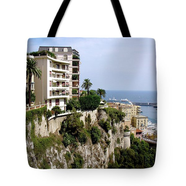 On The Cliff In Monaco Tote Bag by Julie Palencia