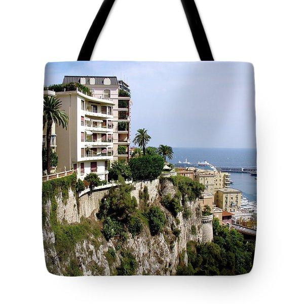 On The Cliff In Monaco Tote Bag