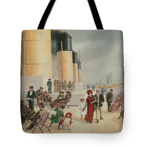 On The Deck Of The Titanic Tote Bag