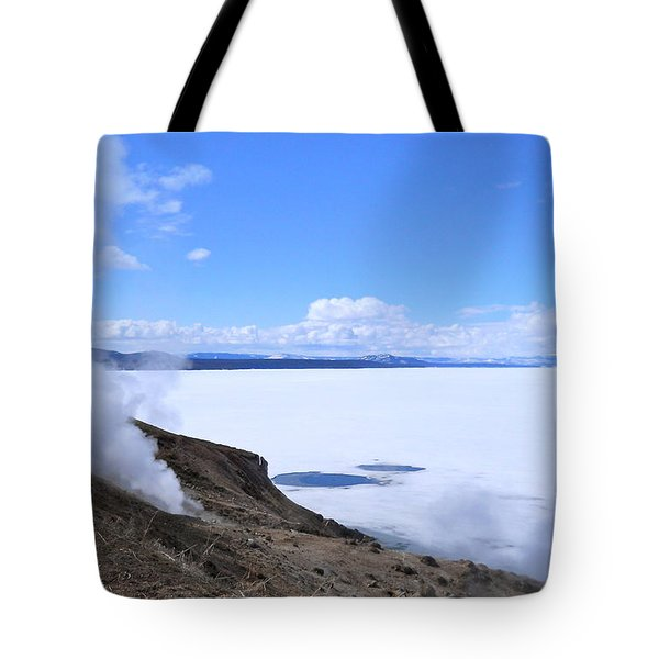 Tote Bag featuring the photograph On The Edge Of Lake Yellowstone by Michele Myers