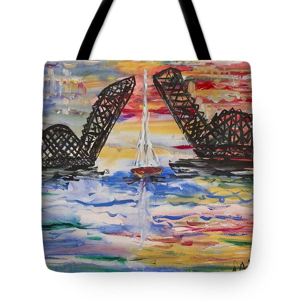 On The Hour. The Sailboat And The Steel Bridge Tote Bag