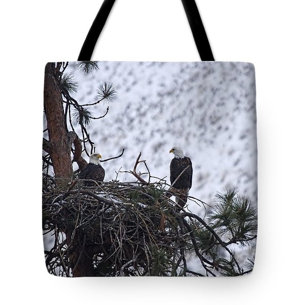 On The Nest Tote Bag by Mike  Dawson