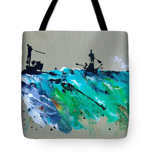 On The River Sports Art Abstract Art Tote Bag by Catherine Jeltes