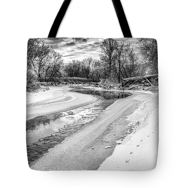 On The Riverbank Bw Tote Bag