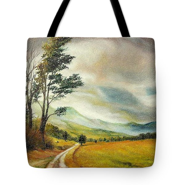 Tote Bag featuring the painting On The Road by Sorin Apostolescu