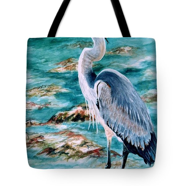 On The Rocks Great Blue Heron Tote Bag
