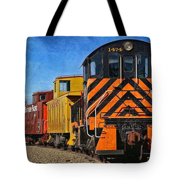 On The Tracks Tote Bag by Peggy Hughes