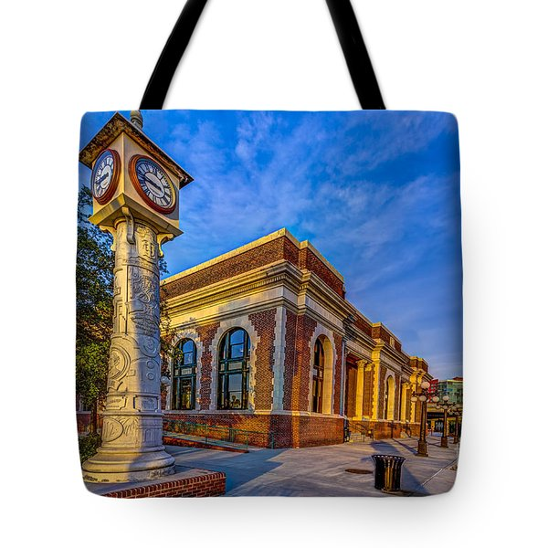 On Time Train Tote Bag by Marvin Spates