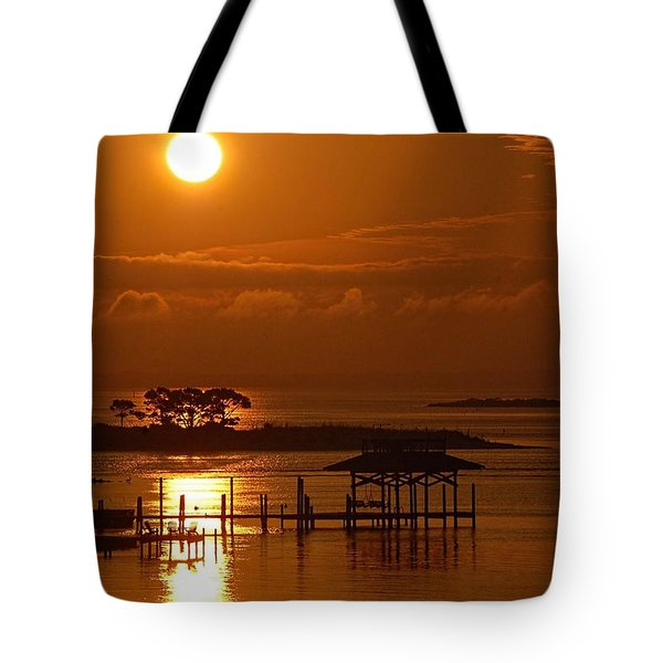 Tote Bag featuring the digital art On Top Of Tacky Jacks Sunrise by Michael Thomas