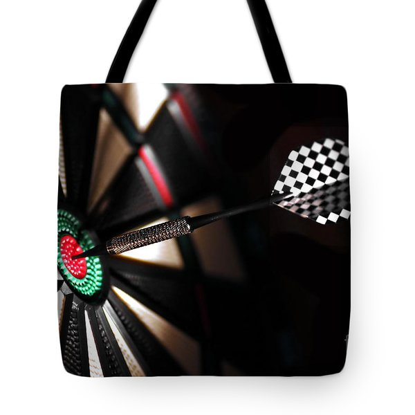One Arrow In The Centre Of A Dart Board Tote Bag by Michal Bednarek
