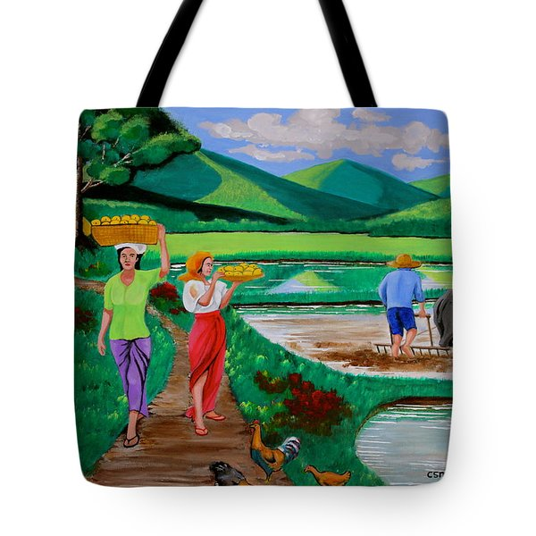 One Beautiful Morning In The Farm Tote Bag by Lorna Maza