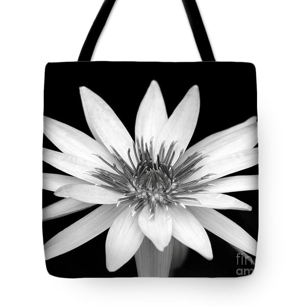 Tote Bag featuring the photograph One Black And White Water Lily by Sabrina L Ryan