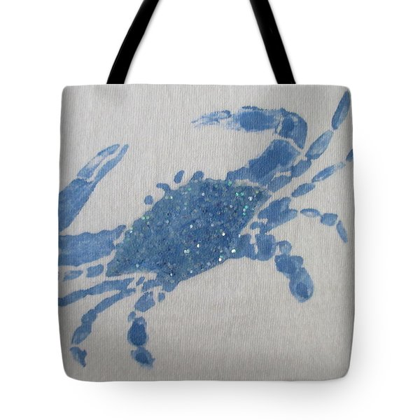One Blue Crab On Sand Tote Bag