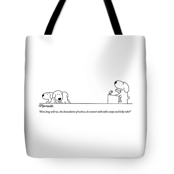 One Dog Speaks On A Podium To Several Tote Bag