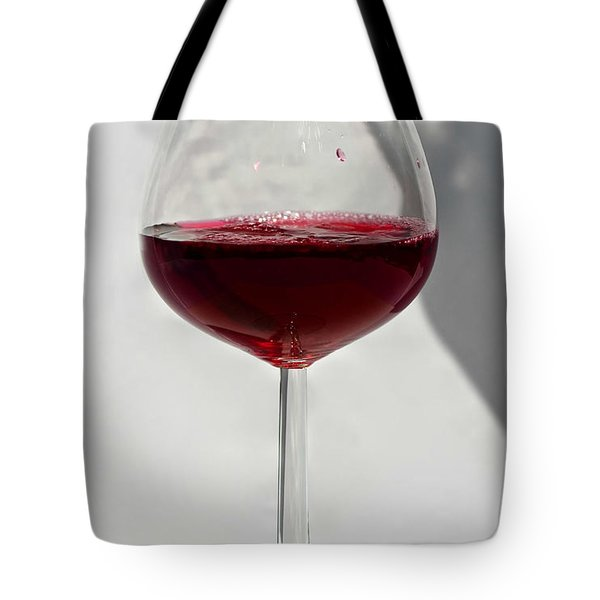 One Glass Of Red Wine With Bottle Shadow Art Prints Tote Bag