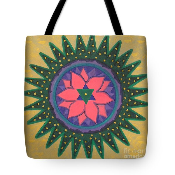 Tote Bag featuring the painting One Gold Bindu by Mini Arora