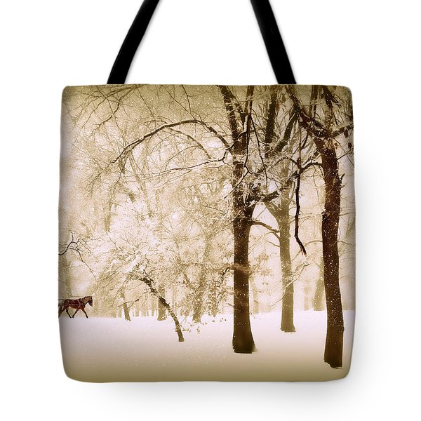 One Horse Open Sleigh Tote Bag by Jessica Jenney