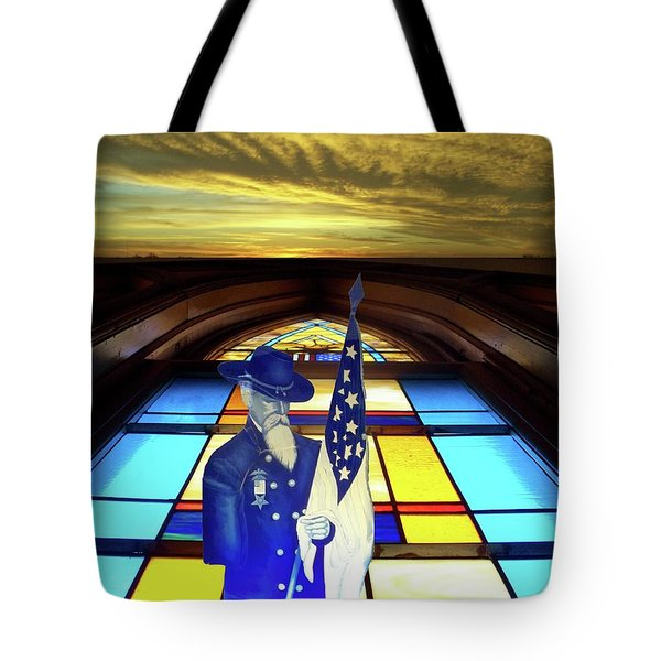 One Last Battle Union Soldier Stained Glass Window Digital Art Tote Bag by Thomas Woolworth