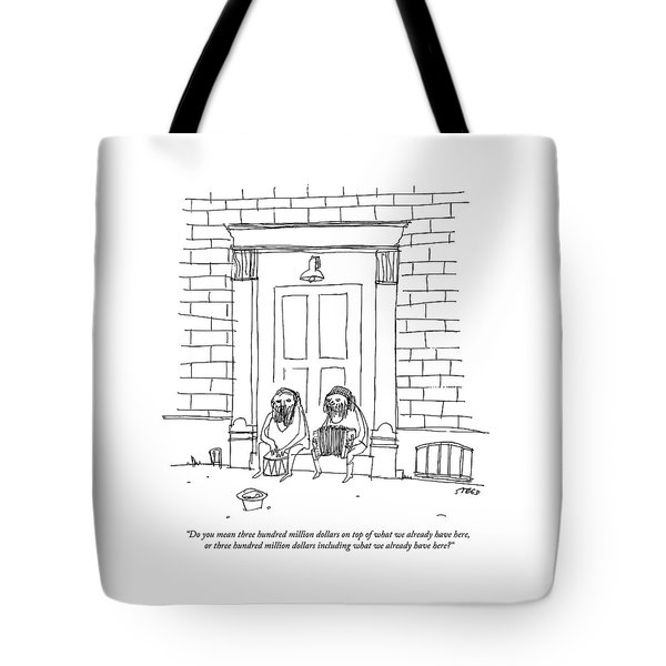 One Sitting Homeless Man Speaks To Another Tote Bag