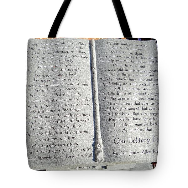 One Solitary Life Tote Bag