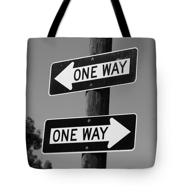 Tote Bag featuring the photograph One Way Or Another - Confusing Road Signs by Jane Eleanor Nicholas