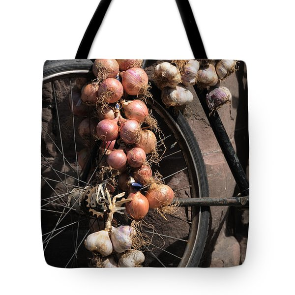Onions And Garlic On Bike  Tote Bag